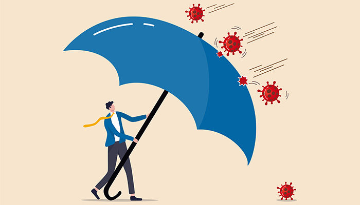 COVID-19 Coronavirus outbreak financial crisis help policy, company and business to survive concept, businessman leader stand safe by cover himself with big umbrella from COVID-19 Coronavirus pathogen